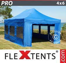 Carpa plegable FleXtents Pro 4x6m Azul, incl. 8 lados