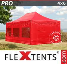 Carpa plegable FleXtents Pro 4x6m Rojo, Incl. 8 lados