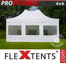 Carpa plegable FleXtents Pro 4x6m Blanco, incluye 8 muros