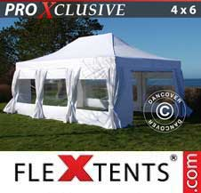 Carpa plegable FleXtents Pro 4x6m Blanco, incl. 8 lados & cortinas