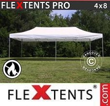 Carpa plegable FleXtents Pro 4x8m Blanco, Ignífuga