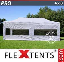Carpa plegable FleXtents Pro 4x8m Blanco, Incl. 6 lados