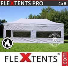 Carpa plegable FleXtents Pro 4x8m Blanco, Ignífuga, Incl. 4 lados