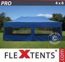Carpa plegable FleXtents Pro 4x8m Azul, incl. 6 lados
