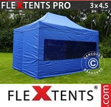 Carpa plegable FleXtents Pro 3x4,5m Azul, Incl. 4 lados