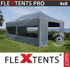 Carpa plegable FleXtents Pro 4x8m Gris, Incl. 6 lados