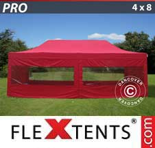 Carpa plegable FleXtents Pro 4x8m Rojo, Incl. 6 lados