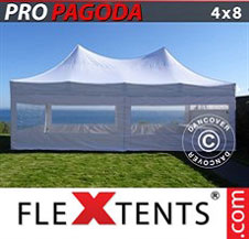 Carpa plegable FleXtents Pro 4x8m Blanco, incluye 6 muros