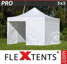 Carpa plegable FleXtents Pro 5x5m Blanco, Incl. 4 lados