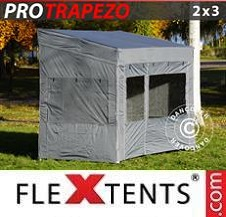 Carpa plegable FleXtents Pro 2x3m Gris, Incl. 4 lados