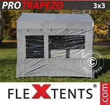 Carpa plegable FleXtents Pro 3x3m Gris, Incl. 4 lados