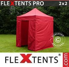Carpa plegable FleXtents Pro 2x2m Rojo, incl. 4 lados
