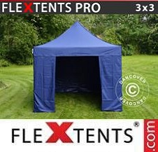 Carpa plegable FleXtents Pro 3x3m Azul oscuro, Incl. 4 lados