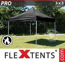Carpa plegable FleXtents Pro 3x3m Negro, Ignífuga
