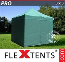 Carpa plegable FleXtents Pro 3x3m Verde, Incl. 4 lados