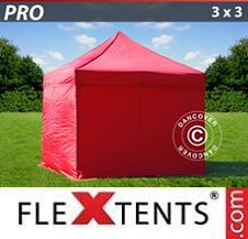 Carpa plegable FleXtents Pro 3x3m Rojo, Incl. 4 lados