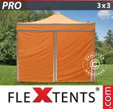Carpa plegable FleXtents Pro 3x3m Naranja reflectante, Incl.
