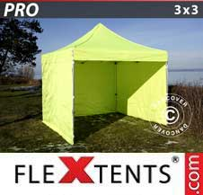 Carpa plegable FleXtents Pro 3x3m Amarillo Flúor/verde, Incl. 4 lados