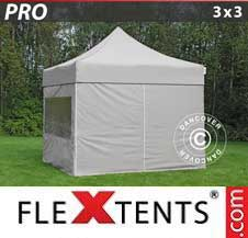 Carpa plegable FleXtents Pro 3x3m Latte, Incl. 4 lados