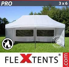 Carpa plegable FleXtents Pro 3x6m Blanco, Ignífuga, Incl. 6 lados
