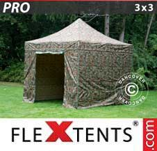 Carpa plegable FleXtents Pro 3x3m Camuflaje, Incl. 4 lados