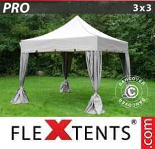 Carpa plegable FleXtents Pro 3x3m Latte, incl. 4 cortinas decorativas