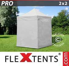 Carpa plegable FleXtents Pro 2x2m Blanco, Incl. 4 lados