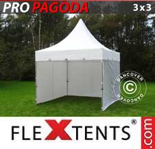 Carpa plegable FleXtents Pro 3x3m Blanco, incluye 4 muros