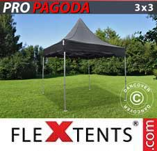 Carpa plegable FleXtents Pro 3x3m Negro, incluye 4 muros