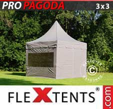 Carpa plegable FleXtents Pro 3x3m Latte, incluye 4 muros