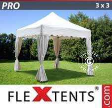 Carpa plegable FleXtents Pro 3x3m Blanco, incl. 4 cortinas decorativas