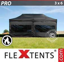Carpa plegable FleXtents Pro 3x6m Negro, Ignífuga, incl. 6 lados