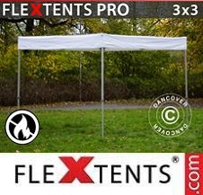 Carpa plegable FleXtents Pro 3x3m, Blanco, Ignífugo