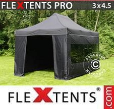 Carpa plegable FleXtents Pro 3x4,5m Negro, Incl. 4 lados