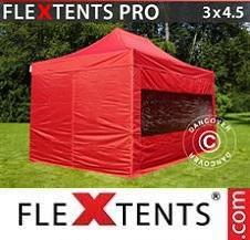 Carpa plegable FleXtents Pro 3x4,5m Rojo, Incl. 4 lados