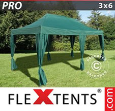 Carpa plegable FleXtents Pro 3x6m Verde, incluye 6 cortinas decorativas