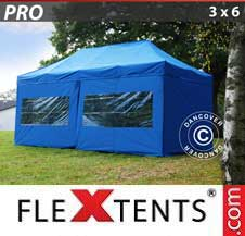 Carpa plegable FleXtents Pro 3x6m Azul, incl. 6 lados