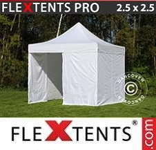 Carpa plegable FleXtents Pro 2,5x2,5m Blanco, Incl. 4 lados