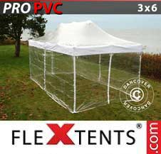 Carpa plegable FleXtents Pro 3x6m Transparente, Incl. 6 lados