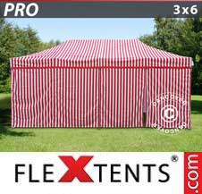 Carpa plegable FleXtents Pro 3x6m rayado, incl. 6 lados