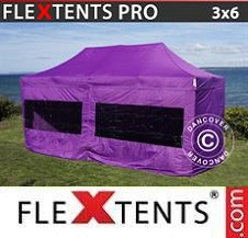 Carpa plegable FleXtents Pro 3x6m Morado, Incl. 6 lados