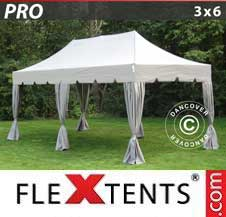 Carpa plegable FleXtents Pro 3x6m Latte, incl. 6 cortinas decorativas
