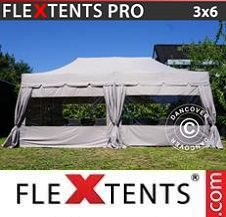 Carpa plegable FleXtents Pro 3x6m Latte, incluye 6 paredes laterales