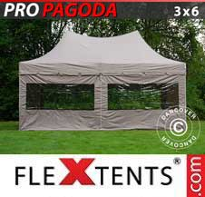 Carpa plegable FleXtents Pro 3x6m Latte, incluye 6 muros