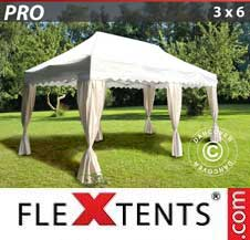 Carpa plegable FleXtents Pro 3x6m Blanco, incl. 6 cortinas decorativas