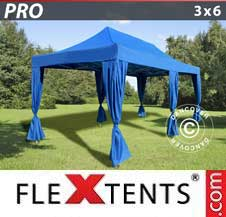 Carpa plegable FleXtents Pro 3x6m Azul, incluye 6 cortinas decorativas