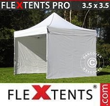 Carpa plegable FleXtents Pro 3,5x3,5m Blanco, Incl. 4 lados