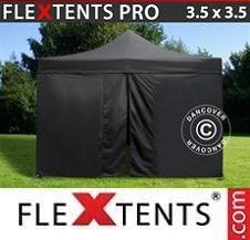 Carpa plegable FleXtents Pro 3,5x3,5m Negro, incl. 4 lados