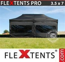 Carpa plegable FleXtents Pro 3,5x7m Negro, incl. 6 lados