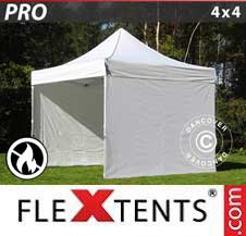 Carpa plegable FleXtents Pro 4x4m Blanco, Ignífuga, Incl. 4 lados